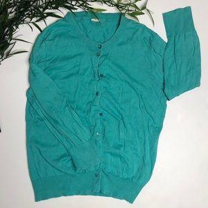 JCrew Clare Cardigan Size L Blue/Green-Teal